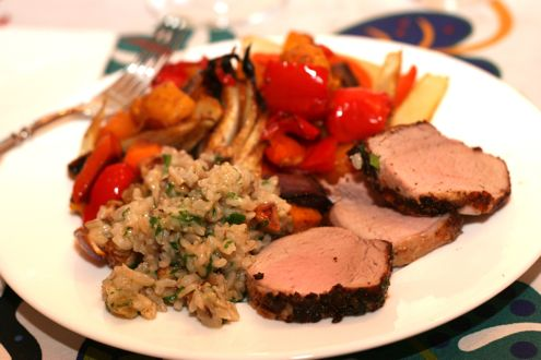Coriander Crusted Pork Tenderloin with Spicy Roast Vegetables and ...
